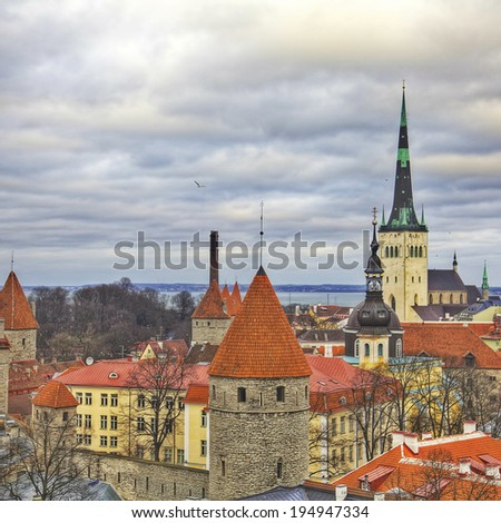 Estonia, Tallinn, View of the historical district of the city - stock photo