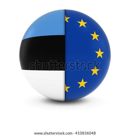 Estonian and European Flag Ball - Split Flags of Estonia and the EU - stock photo