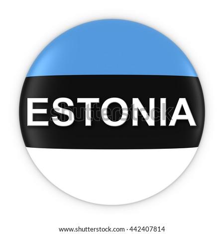 Estonian Flag Button with Estonia Text 3D Illustration - stock photo