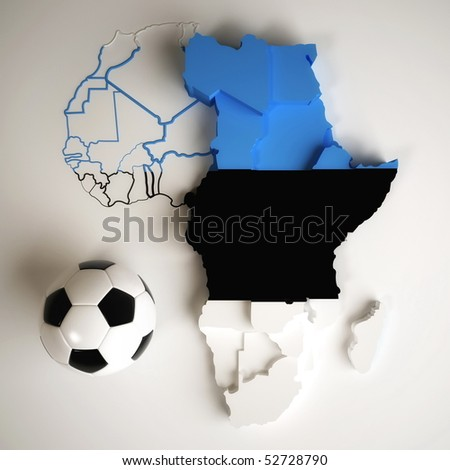 Estonian flag on map of Africa with national borders