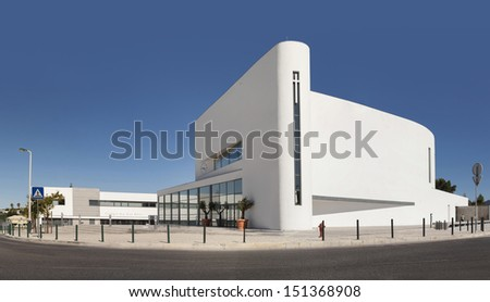 ESTORIL, PORTUGAL - AUGUST 19: general view of Boa Nova Church (Igreja Senhora da Boa Nova) designed by Roseta Vaz Monteiro Arquitectos in Estoril, Lisbon area on August 19, 2013. - stock photo
