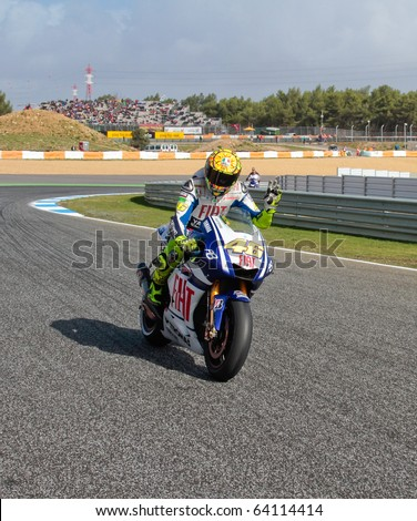 ESTORIL, PORTUGAL - OCTOBER 31 : Valentino Rossi  in Bwin MotoGP Portugal  2010 Race MotoGP on October 31, 2010 in Estoril, Portugal - stock photo