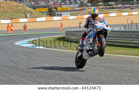ESTORIL, PORTUGAL - OCTOBER 31 : yonny hernandez in Bwin MotoGP Portugal  2010 Race Moto2 October 31, 2010 in Estoril, Portugal - stock photo