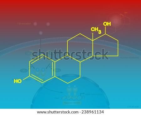 Estradiol molecular structure - stock photo