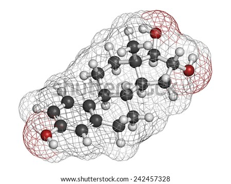 Estriol (oestriol) human estrogen hormone molecule. Atoms are represented as spheres with conventional color coding: hydrogen (white), carbon (grey), oxygen (red).