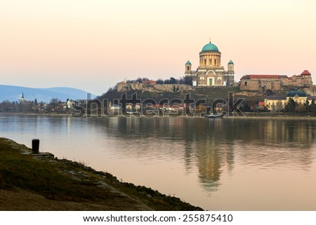 Esztergom - city in northern Hungary, on the right bank of the river Danube, which forms the border with Slovakia there. Its cathedral, Esztergom Basilica is the largest church in Hungary. - stock photo