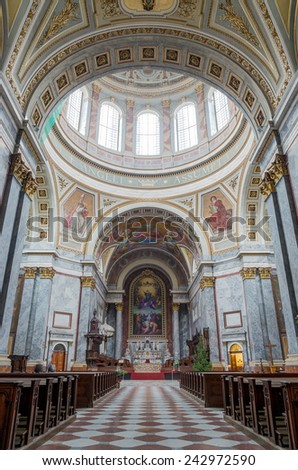 ESZTERGOM, HUNGARY - DECEMBER 23: Esztergom Basilica interior on December 23, 2013 in Esztergom. Esztergom Basilica is the biggest building in Hungary and the 18th biggest church in the world. - stock photo