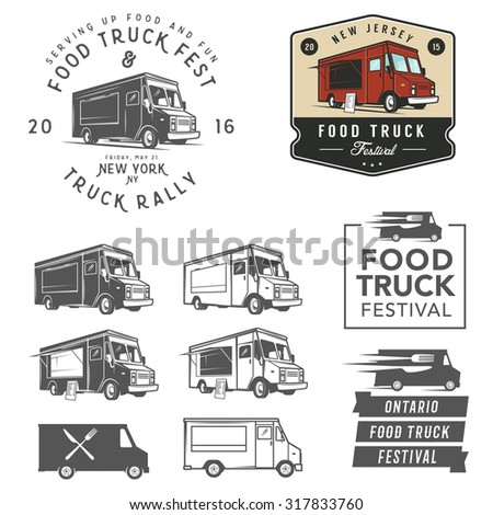 et of food truck festival emblems, badges and design elements - stock photo
