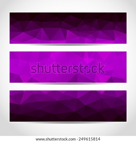 et of trendy purple banners template or website headers with abstract geometric background. Design illustration - stock photo