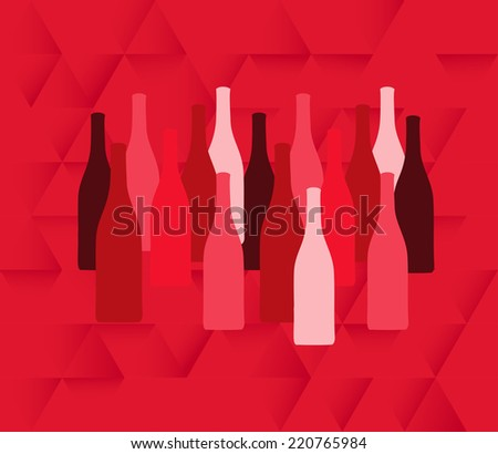 et of wine bottle silhouettes in red colors