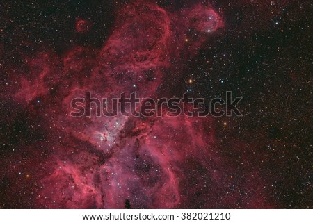 Eta Carinae Nebula a large emission nebula in the constellation Carina in the Southern sky taken with large CCD camera through low focal length telescope - stock photo