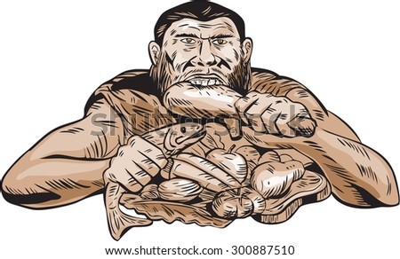 Etching engraving handmade style illustration of a neaderthal man eating a paleo diet consisting of lean meats, chicken, fish, fruits and vegetables viewed from front on isolated white background. - stock photo
