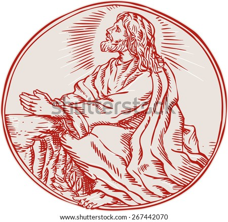 Etching engraving handmade style illustration of Jesus Christ agony in the garden looking up viewed from the side set inside circle.  - stock photo