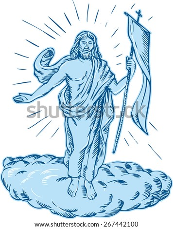 Etching engraving handmade style illustration of Jesus Christ resurrection viewed from front set on isolated white background.  - stock photo