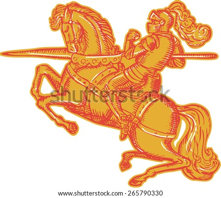 Etching engraving handmade style illustration of knight horseback in full armor holding lance riding horse viewed from the side on isolated white background.  - stock photo