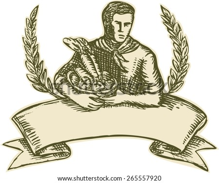 Etching engraving handmade style illustration of male organic farmer gardener horticulturist with basket full of crop harvest, fruits and vegetables with olive leaves branches and scroll  - stock photo