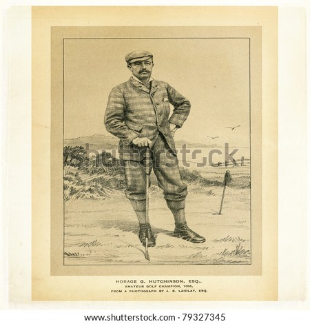 Etching of Horace G. Hutchinson, amateur golf champion, 1886, from a photograph by J. E. Laidlay for Golfing - A Handbook to the Royal And Ancient Game published by W&R Chambers Edinburgh/London 1887.