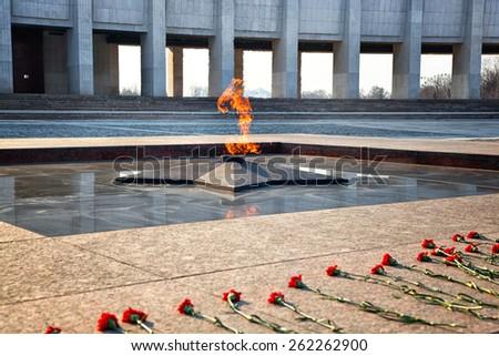 Eternal Flame - symbol of victory in World War II. Poklonnaya Gora, Victory Park, Moscow, Russia - stock photo