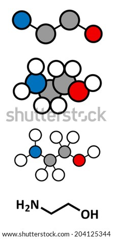 Ethanolamine (2-aminoethanol) molecule. Stylized 2D renderings and conventional skeletal formula. - stock photo