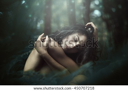 Ethereal creature of the magical forest . Fantasy and surreal - stock photo