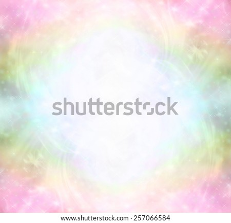 Ethereal Rainbow Healing Light Energy Field    Ethereal Rainbow colored background with sparkles and swirls depicting a Healing Light Energy Field - stock photo