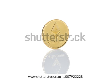 ethereum classic coin isolated on white background