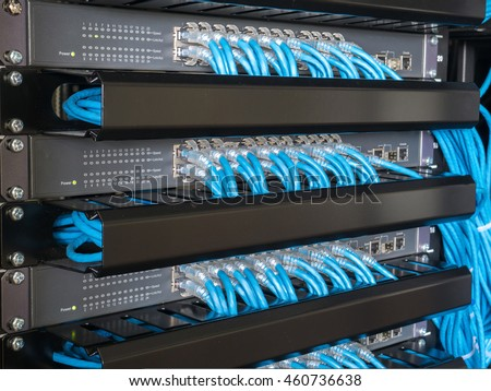 Ethernet network switch and network wire in rack cabinet
