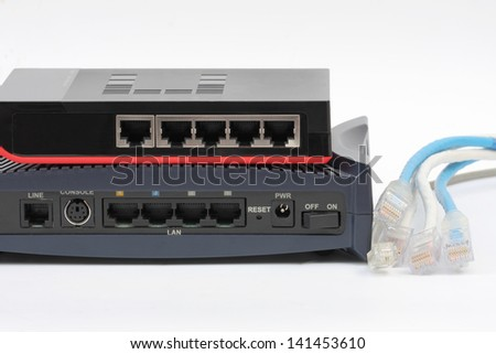 Ethernet switch isolated and router modem connect Lan on the white background