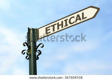 ETHICAL WORD ON ROADSIGN - stock photo