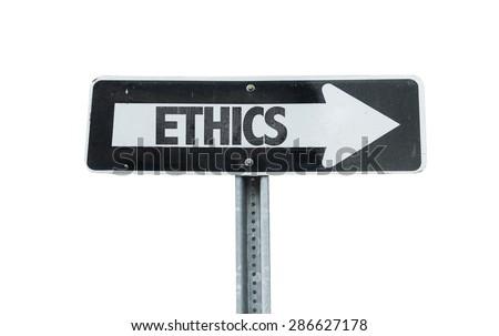 Ethics direction sign isolated on white - stock photo