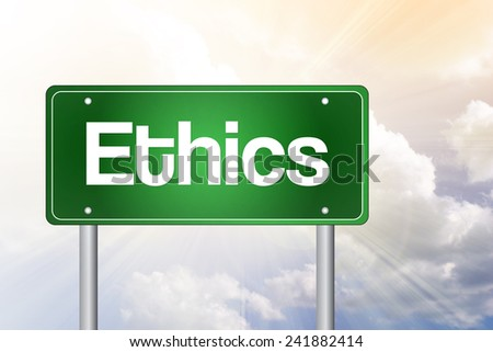Ethics Green Road Sign, business concept  - stock photo
