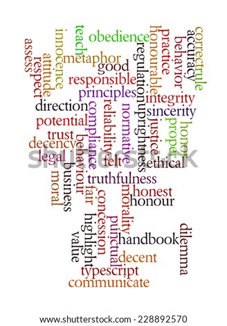 Ethics in words background - stock photo