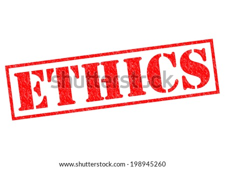 ETHICS red Rubber Stamp over a white background. - stock photo