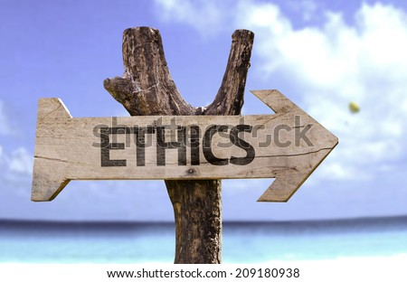 Ethics wooden sign with a beach on background  - stock photo