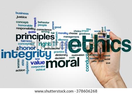 Ethics word cloud concept - stock photo