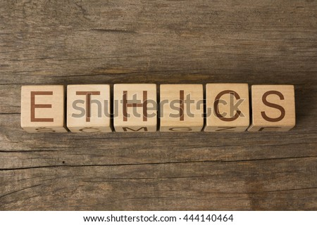 ETHICS word on wooden cubes