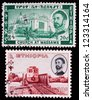 ETHIOPIA - CIRCA 1970: A stamp printed in Ethiopia shows a church at Massawa and railways, circa 1970. - stock photo