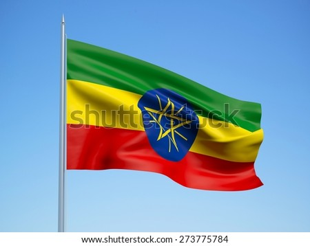 Ethiopia 3d flag floating in the wind with a blue sky background
