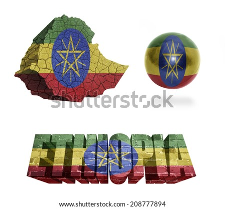 Ethiopia flag and map in different styles in different textures - stock photo
