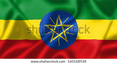 Ethiopia flag blowing in the wind. Background texture.