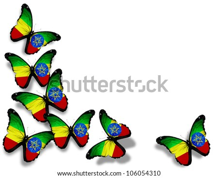 Ethiopia flag butterflies, isolated on white background