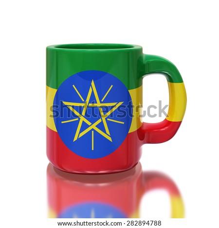 Ethiopia flag cup on white background - stock photo