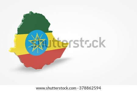 Ethiopia flag 3d perspective view isolated - stock photo