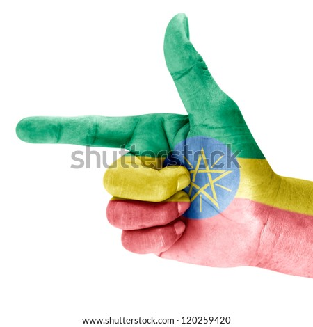 Ethiopia flag drawn on shoot hand gesture with white background.