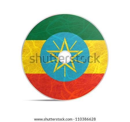 Ethiopia flag DVD. Mulberry paper on white background.