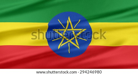 Ethiopia Flag. Flag with a beautiful glossy silk texture. - stock photo