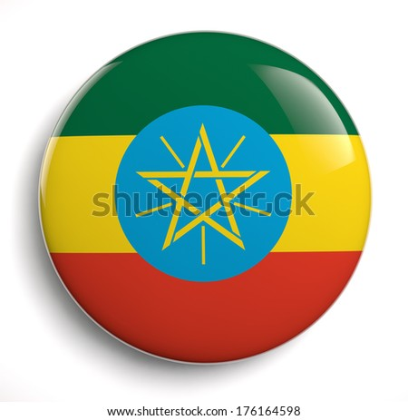 Ethiopia flag icon. Clipping path included.