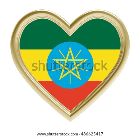 Ethiopia flag in golden heart isolated on white background. 3D illustration.