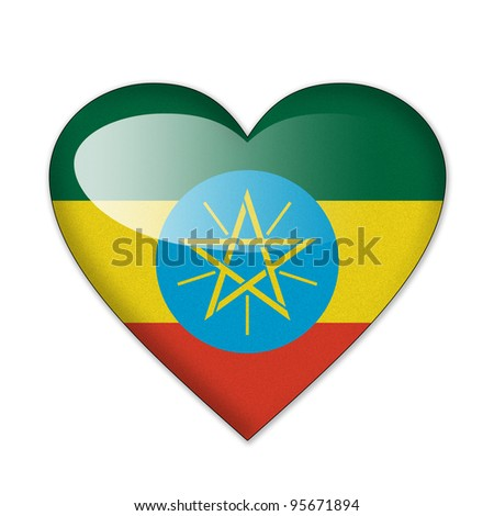 Ethiopia flag in heart shape isolated on white background