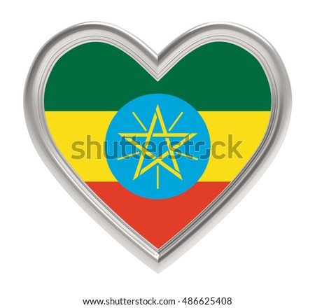 Ethiopia flag in silver heart isolated on white background. 3D illustration.